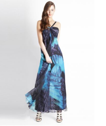 Maxi Dress, Woman's Fashion, Blue Coral Dress, Lady's Fashion, Online Fashion Store, Brown Hair