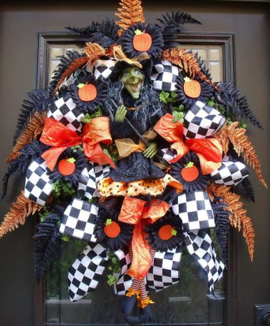 halloween door decor, Halloween door wreath