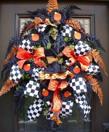 halloween door decor, Halloween door wreath