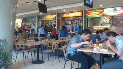 batik office worker buffet lunch, jakarta, indonesia