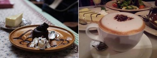 chocolate slice and hot chocolate