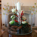 christmas white candle and pine cone centerpiece