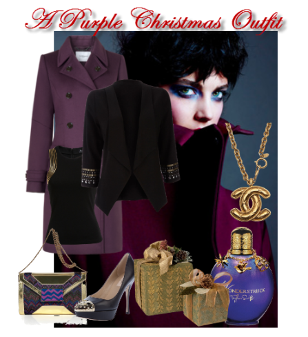 a purple christmas outfit