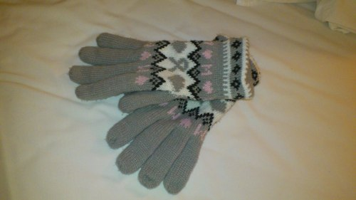 girl gloves grey pink black white