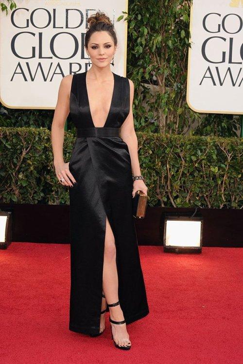 2013 Golden Globe Katharine McPhee black dress, black dress golden globe, actress best dressed red carpet, 2013 best dressed golden globe