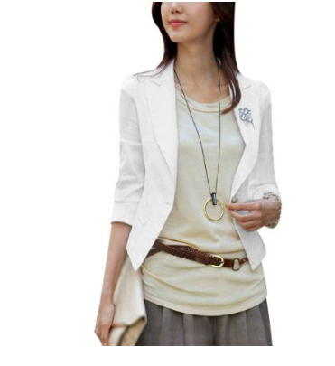 Allegra K Notched Lapel One Button Closure Front Slim Fit Women Blazer White S, white blazer