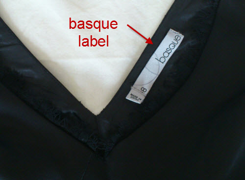 basque label black lady dress size 8