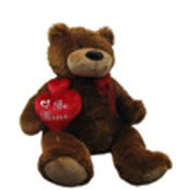 brown teddy bear holding heart shaped pillow