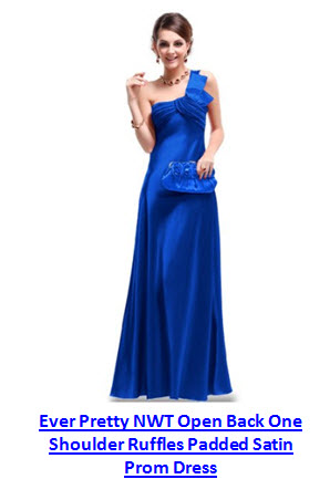 ever pretty NWT open back one shoulder ruffles padded satin prom dress