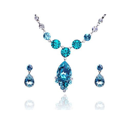Sapphire Aqua Blue Tear Swarovski Crystal Rhinestone Dangle Earring Necklace Set; aqua necklace, aqua earrings, aqua accessories