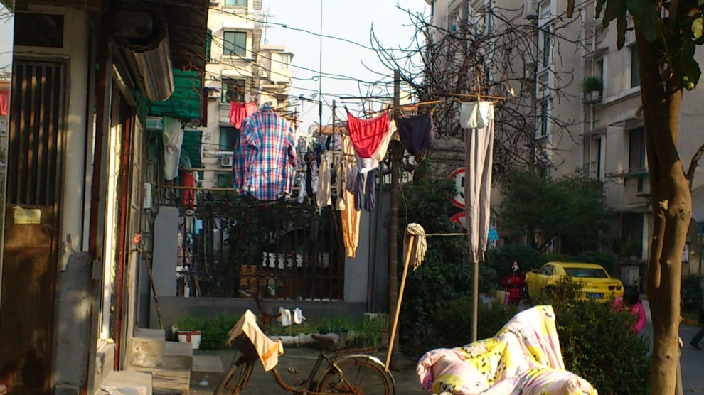 washing line outside china, hangzhou, washing line clothes
